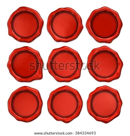 Empty wax seal isolated on white. Set - stock photo