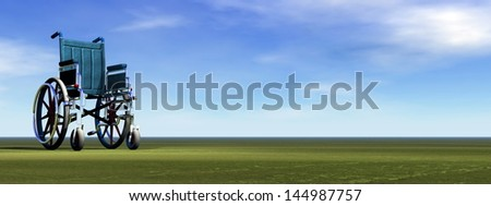 Empty wheelchair standing on the green grass by beautiful day - stock photo