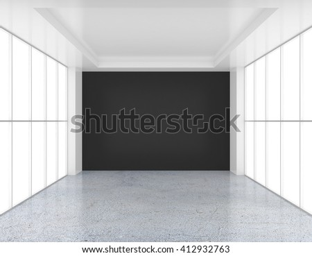 Empty white and black wall room with glossy concrete floor - stock photo