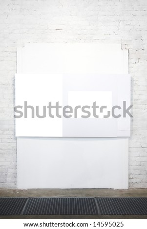 Empty white banner on exposition - stock photo