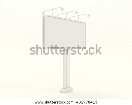 Empty white billboard mock up with blank for branding design and advertising. Advertising construction with lamps spotlights. Isolated on white background. High resolution 3d illustration. - stock photo