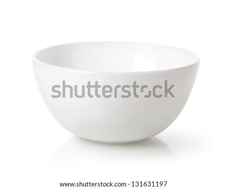Empty white bowl isolated on white background - stock photo