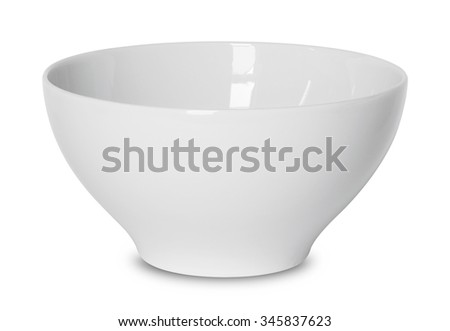 empty white bowl isolated on white with clipping path - stock photo