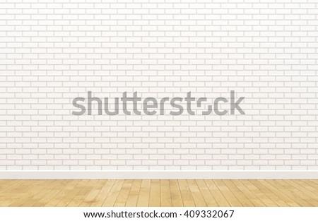 Empty white brick wall (3d Render image) - stock photo
