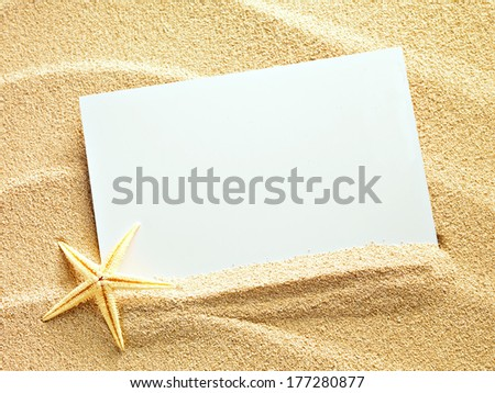 Empty white card with starfish is lying on a sea sand summer sunny background - stock photo