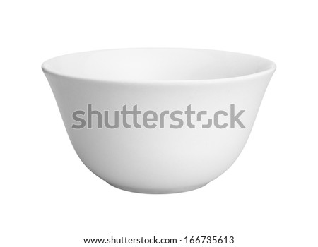 Empty white ceramic bowl on a white background - stock photo