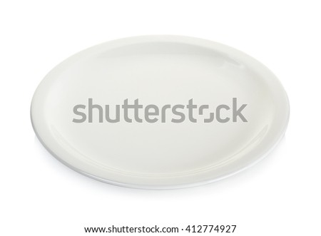 Empty white circle plate isolated on white background. - stock photo