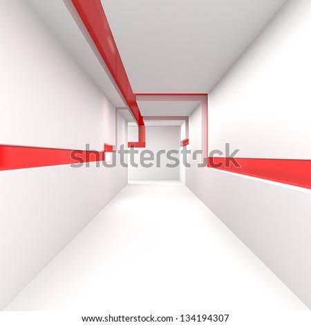 Empty White Corridor - 3d illustration - stock photo