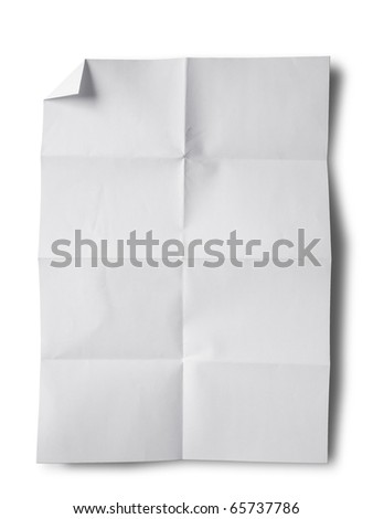Empty white Crumpled paper on white background vertical - stock photo
