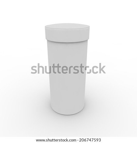 Empty white cylindrical box on the isolated background - stock photo