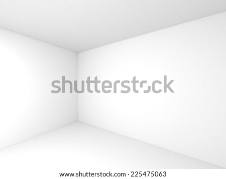 Empty white 3d room interior background with corner and soft shadows - stock photo