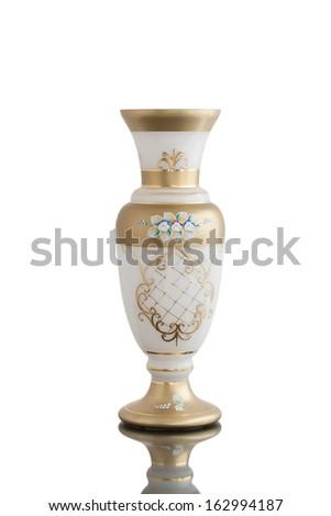 empty white gold vase glass isolated  - stock photo
