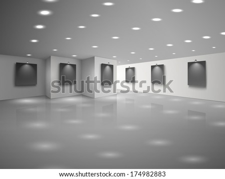 Empty white hall interior with blank black canvases  illustration - stock photo