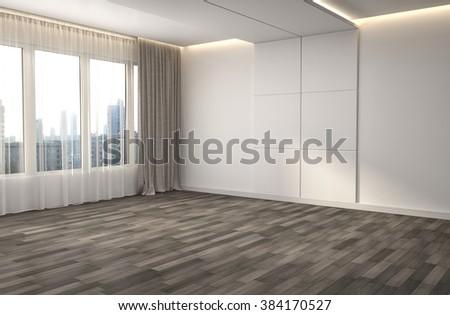 empty white interior. 3d illustration - stock photo