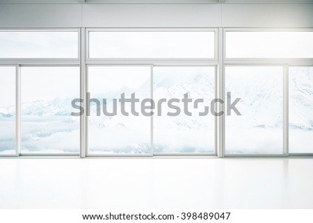 Empty white interior design with large glass doors and windows. 3D Rendering - stock photo