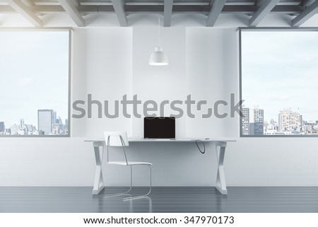 Empty white interior with table, chair, brick wall and windows, and laptop 3D Render - stock photo