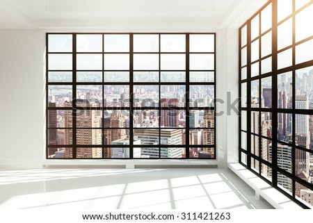 empty white loft interior - stock photo