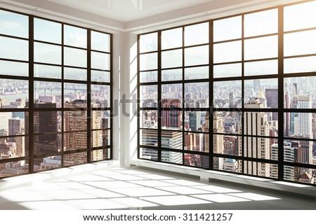 empty white modern interior - stock photo