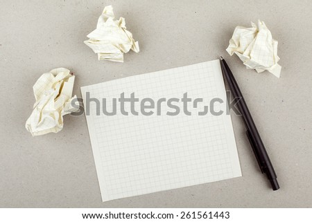 Empty White Note Paper Sheet Pen and Paper Balls - stock photo