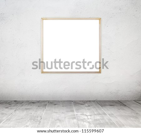 Empty white old interior room with painted concrete wall and empty grunge wood frame and wooden plank floor - stock photo