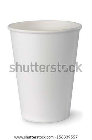 Empty white paper cup isolated on white - stock photo