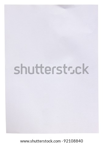 Empty white paper on white background, with clipping path - stock photo