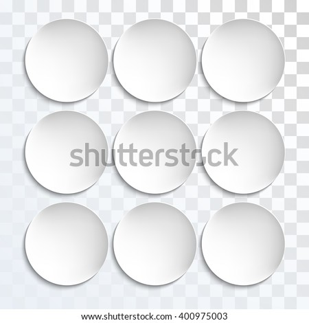 Empty white paper plate shapes. round plates Illustration on transparent background. Plates background for your design. - stock photo