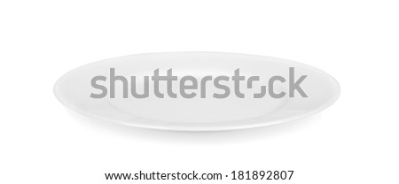 Empty white plate, isolated on white - stock photo