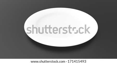 Empty white plate on a black background - stock photo