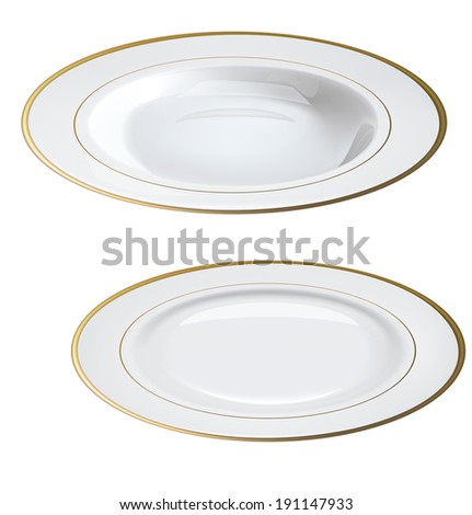 Empty white plates with gold rims isolated on white. - stock photo