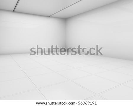 Empty white room, 3d render - stock photo