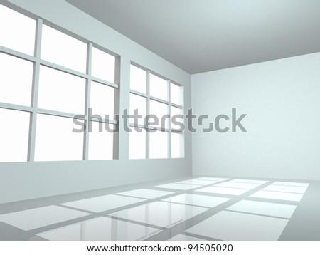 Empty White Room - 3d render - stock photo