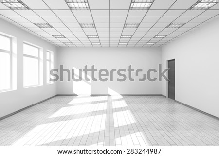 Empty White Room Interior with Big Windows. 3D Rendering - stock photo