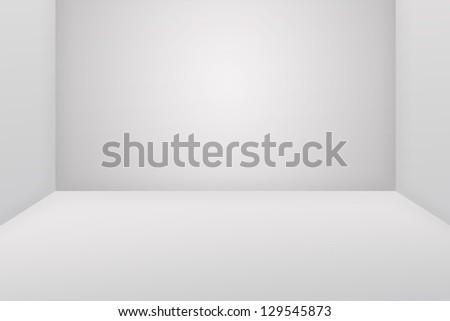 Empty white room on the white floor - stock photo
