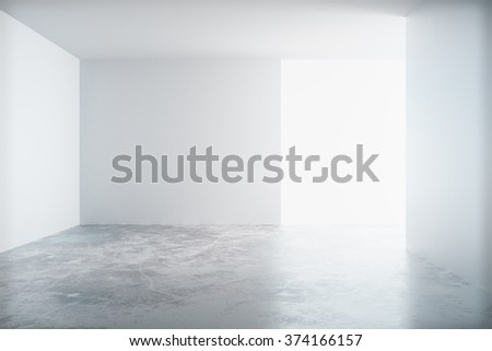 Empty white room with a concrete floor and blank wall with copyspace 3D Render - stock photo