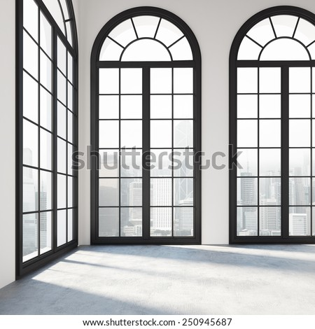 Empty white room with black windows. 3d rendering - stock photo