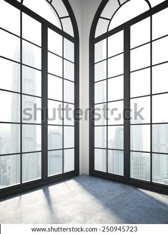 Empty white room with black windows. 3d rendering - stock photo