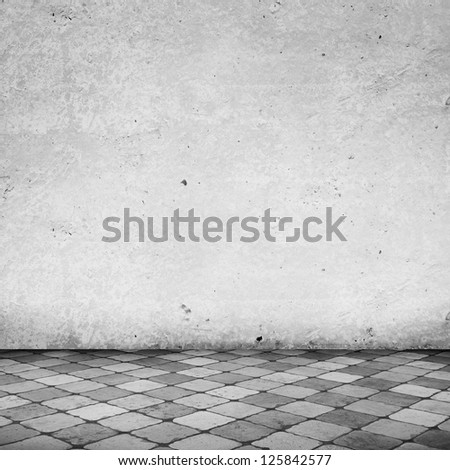 Empty White Room with Copy Space and Tile Floor - stock photo