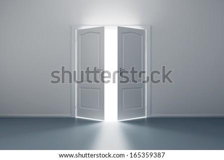 empty white room with opened door - stock photo