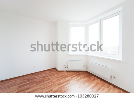 empty white room with window - stock photo