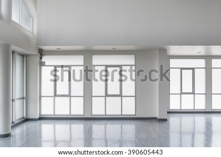 empty white room with window - stock photo