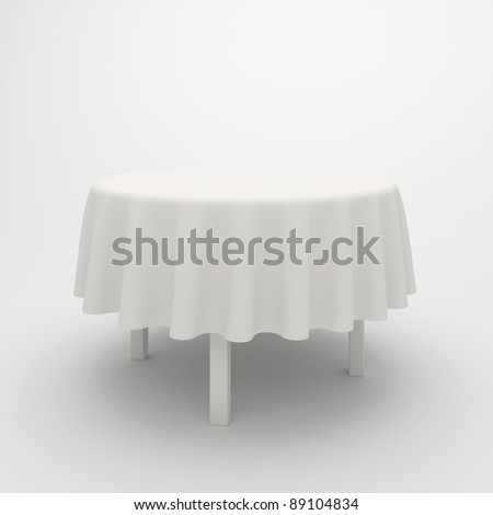 Empty, white round table and cloth on a white background - stock photo