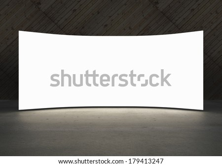 Empty white screen glows in dark abstract room  - stock photo