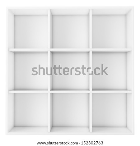 empty white shelf isolated on white background - stock photo