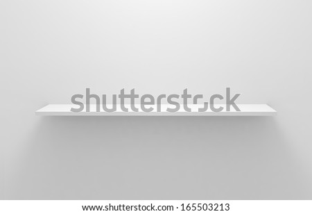 Empty white shelves - stock photo