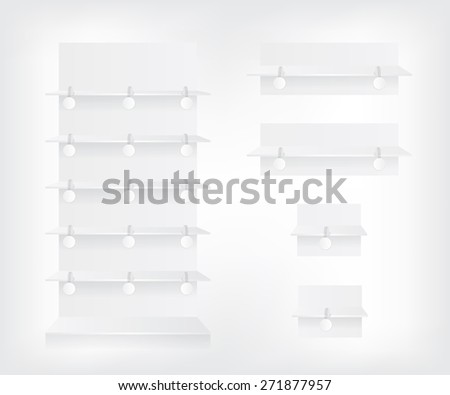 Empty white shop shelves and wobbler - stock photo