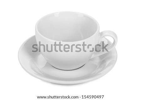 empty white tea cup isolated on white background - stock photo