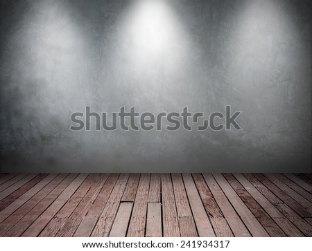 Empty white wall with 3 spot lights and wooden floor - stock photo