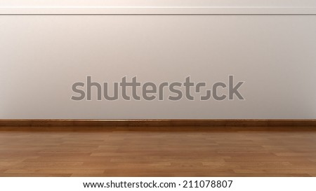Empty White Wall with Wooden Floor  - stock photo