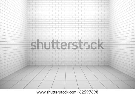 Empty white windowless interior. 3D render. - stock photo